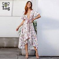elbise boynu yeni kesikler toptan satış-Tingfly yeni tasarımcı bohemian seksi kesip derin v boyun dress ruffles asimetrik hem midi uzun casual dress boho artı boyutu 2xl