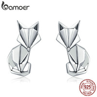 ювелирные изделия из лисы оптовых-BAMOER Hot Sale Genuine 925 Sterling Silver Fashion Folding  Animal Stud Earrings for Women Sterling Silver Jewelry SCE526