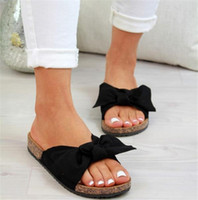 Wholesale fashion summer bow women slippers resale online - 2020 Bow Slippers Women Sommer Torridity Sandals Slipper Indoor Outdoor Linen flops Beach Shoes Female Fashion Shoes