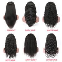 siyah kadınlar için derin peruklar toptan satış-13x6 Dantel Ön İnsan Saç Peruk Düz Vücut Dalga Kıvırcık İnsan Saç Dantel Açık Peruk İçin Siyah Kadınlar Derin Dalga Su Kıvırcık