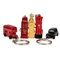 modelo de correo al por mayor-set 5pcs / set rojo, BOHS London Red Cabina telefónica Bus Mail Box Taxi Big Ben Model Small Keychain Souvenir Gift