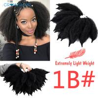 marley pelo rizado rizado al por mayor-8 pulgadas Marley Braids Black Hair Soft Afro rizado a granel 14 raíces / pc Trenzas de ganchillo sintético Extensiones de cabello Fibra de baja temperatura