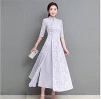 Wholesale lady design wedding dresses for sale - Summer Autumn Vietnam AoDai women elegant retro chinese traditional dress silk cotton cheongsam lady wedding casual design qipao