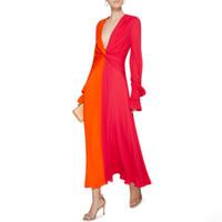 Wholesale hit clothing online - Hit Colors Patchwork Women Dress Lantern Sleeve Waist Cross V Neck Long Female Dresses Fashion Spring Clothes