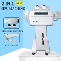 yağ azaltma zayıflama makinesi toptan satış-HIFU vücut zayıflama makinesi HIFU yüz ve boyun germe spa ekipmanları 3 HIFU kartuşları yağ azaltma liposonix