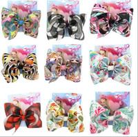 filles arcs clips achat en gros de-8 pouces Jojo Bow pour les filles Jojo Siwa grande arcs de cheveux de licorne pour les filles avec des clips Bowknot Handmade fille accessoire de cheveux 10pcs
