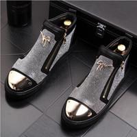 botines hombre cuero negro al por mayor-Británicos de lujo para hombre botines de cuero genuino para hombre de negocios botas de moda para hombre botas de cuero de alta calidad negro boda zapatos de fiesta W238