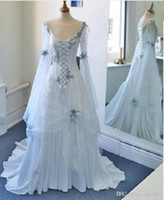 Wholesale bell line wedding dress for sale - Group buy White and Pale Blue Colorful Medieval Bridal Gowns Scoop Neckline Corset Long Bell Sleeves Appliques Flowers Vintage Celtic Wedding Dresses