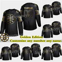 bruins hokeyi formaları toptan satış-Boston Bruins Golden Edition 4 Bobby Orr 74 DeBrusk 37 Patrice Bergeron 63 Marchand 88 Pastrnak Herhangi bir numarayı herhangi bir isimde kişiselleştirin Hokey formaları