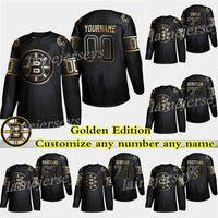 pastrnak trikot großhandel-Boston Bruins goldene Ausgabe 4 Bobby Orr 74 DeBrusk 37 Patrice Bergeron 63 Marchand 88 Pastrnak Fertigen Sie irgendeine Zahl irgendeine Namenshockeytrikots besonders an