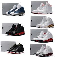 kız çocuklar ayakkabı çini toptan satış-Nike air jordan 13 retro  Ucuz erkek ve kız 13 s basketbol ayakkabıları Atmosfer Gri Siyah Kırmızı Zeytin Camo Tan Çin yeni gençlik çocuklar 13 sneakers