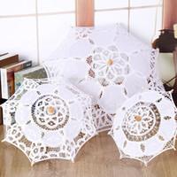 eski dantel şemsiyeleri toptan satış-Vintage Stil Yeni El Yapımı Beyaz Dantel Şemsiye Nakış Dekorasyon Gelin Şemsiye Yetişkinler ve Çocuklar için Çok Boyutları