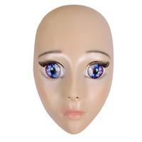 látex feminino venda por atacado-Hot 2019 New Anime Menina Máscara Cosplay Crossdresser Dos Desenhos Animados de Látex Adulto Olhos Azuis Bonito Anime Máscara Facial feminina