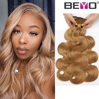 couleur remy indien 27 achat en gros de-# 27 Couleur Body Wave Bundles Bundles de Cheveux Humains Péruvienne Raw Virgin Indian Hair Remy Malaysian 10a Grade Virgin Hair Beyo