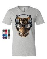 tierkopfhörer großhandel-Freaky Tiger T-Shirt mit V-Ausschnitt Musik Kopfhörer Brille Animal DJ Party Größe discout heißes neues T-Shirt
