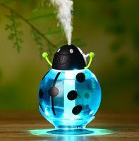 humidificador central de niebla al por mayor-USB portátil ultrasónico escarabajo humidificador beatles purificador de aire nebulizador ABS botella lámpara LED luz de noche en casa oficina coche humidificador caliente 2019