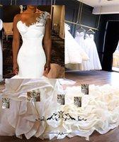 2020 Elegant Sexy Mermaid Wedding Dresses One Shoulder Silver Lace Appliques Ruffles Tiered Wedding Bridal Gowns Plus Size Bride Dress