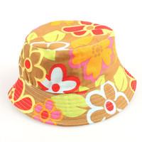 bebek erkek hasır şapkaları toptan satış-Tasarımcı Bebek Karikatür Baskı Kova Güneş Şapka Çiçek Çocuk Yaz Panama Kapaklar Bebek Kız Balıkçı Hasır Şapka Çocuk Boys Topee kap 2-6Years