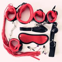 7Pcs Nylon Plush Erotic Sex Toys Adults Sex Handcuffs Whip Mouth Gag Sex Mask Bdsm Bondages Set