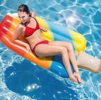cadeiras de desenho animado para adultos venda por atacado-Novo verão adulto inflável de água dos desenhos animados ice cream cama flutuante linha flutuante anel de natação montagem inflável cadeira flutuante