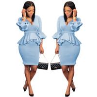 seksi iş etekleri toptan satış-Kadın Ofis 2 Parça Elbise Seksi Tüplü Fırfır Uzun Fener Kol V Boyun Uzun Üst Yüksek Bel Mini Etek Seti Çalışma Etekler Kıyafetler Açık Mavi