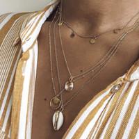 bohemia crystal necklaces toptan satış-2019 Vinatge Kristal Daire Pul Kabuk Kolye Kolye Kadınlar Boho Katmanlı Chokers Için Kolye Takı Bohemia