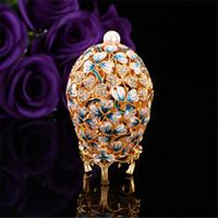 decoração mediterrânica venda por atacado-Qifu Bela Folha Pintura Presente Artesanato Feito Por Metal Mediterrâneo Decoração Do Jardim Decoração Ovo Fabergé