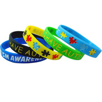 autismus-bewusstseinsarmbänder großhandel-Autism Awareness Armbänder Bunte Puzzleteile Silikon Armbänder Flexible Silikonkautschuk-Armband für Kinder und Erwachsene 5 Farben