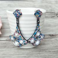 kristall pflastern perlen ohrringe großhandel-Arbeiten Sie Mehrfarbenkristallohrring um, pflastern Sie Rhinestone-Perlen-Charme baumeln Tropfenohrringe für Frauenschmucksachen ER547