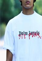 ingrosso disegno freddo della camicia bianca-19ss New Fshion Uomo T-Shirt Stampa palm angels X DIE PUNK bianco Design Cotone manica corta T-Shirt Casual Top Cool Tee Shirts 001