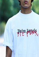 desenhos da camisa punk venda por atacado-19ss Novos Homens Fshion Impressão de T-shirt dos anjos da palma X DIE PUNK branco Design de Algodão de Manga curta T Camisas Casual Tops Camisetas Legal 001