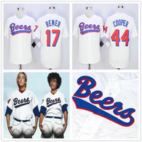 baseketball trikots groihandel-Retro Milwaukee Beers # 17 Doug Remer Baseball-Shirt BASEketball BEERS MOVIE JERSEYS 44 JOE COOPER COOP Genähtes Baseball-Shirt