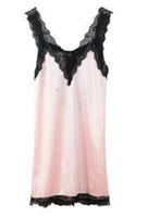 lingerie preta do robe cor-de-rosa venda por atacado-Atacado- agradável New-de-rosa listrado Suspender Skirt Sleepwear Charming Womens Robes Sexy Black Lace Lingerie Noite Vestido Tamanho