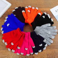 Wholesale fingerless gloves women resale online - Soft Touch Screen Gloves Fashion Woman Warm Solid Color Cotton Gloves Outdoor Causal Men Winter Xmas Gifts TTA1773