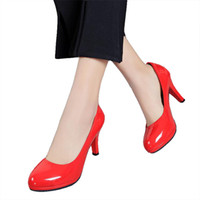 Wholesale shoes big mouth online - Designer Dress Shoes Women s spring Women Pumps head light mouth with fine work with paint four seasons big size