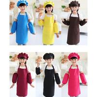 çocuklar önlük seti toptan satış-Çocuklar Önlükler Cep Craft şapka ile Önlüğü Çocuk Önlükler Yemek Pişirme Sanatı Boyama Çocuk Mutfak Pişirme ve Çocuk Önlük Seti RRA2083 kollu