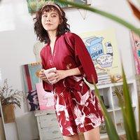 eis seide hochzeit großhandel-Satin Kimono Bademantel Frauen Braut Brautjungfer Hochzeit Robe Kleid Kleid Sexy Silk Silk Kran Druck Sexy Silk Robes für Frauen