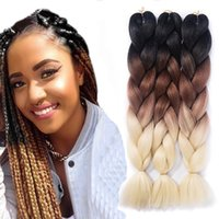 Wholesale blue hair for braiding for sale - Group buy Hot inches Pack Crochet Braiding Hair Afro Synthetic Jumbo Braids Ombre Kanekalon Fiber Hair Extension for DIY Braiding Hairstyles
