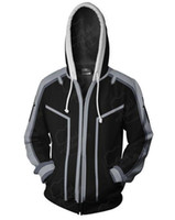 casaco em linha da arte da espada venda por atacado-3 Cosplay Kirito Roupa Ordinal Scale Sword Art Online 3D Impresso Cosplay Yuuki Asuna Mens traje com capuz jaqueta casaco