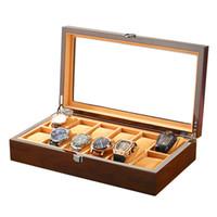 relógios de embalagem venda por atacado-Relógio de madeira de luxo personalizado caixa de embalagem caixa de relógio preto inoxidável winder case 12