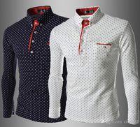 polka dot kleid hemden für männer groihandel-Hemden Herrenmode Stilvolles lässiges Designer-Kleid Polka Dot Shirt Muscle Fit Shirts