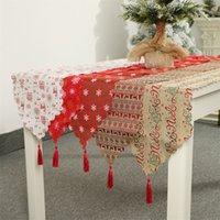 toalhas de mesa de hotel venda por atacado-Tabela Flag Decoração de Natal toalhas de mesa impresso Runner Impresso Tassel Toalha Placemat Hotel Home Festival Decoração