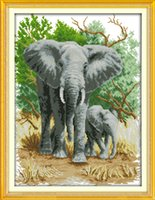 The elephant mother and son home decor painting ,Handmade Cross Stitch Embroidery Needlework sets counted print on canvas DMC 14CT  11CT