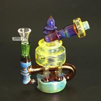 artisanat de pipe d'eau achat en gros de-Grandes conceptions bong en verre, les plates-formes limande, avec narguilés bleu et fumée tuyau d'eau craft corps jaune pétard à quartz ou avec un bol en verre