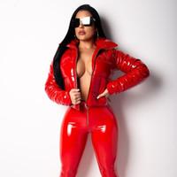 kırmızı kış parka toptan satış-Moda Kış Patent Deri Kabarcık Coat Kadınlar Fermuar Su geçirmez Pamuk dolgulu Kırmızı Puffer Ceket Kadın Parkas Artı boyutu
