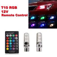 Wholesale led lights car set for sale - Group buy 2Pcs T10 Smd V Car Lights LED Bulbs RGB With Remote Control Strobe Lamp A Set of RGB Car Lights Remote Control