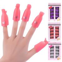 remojar las tapas de uñas al por mayor-10 Unids / set Nail Art Plastic Gel Removedor de esmalte de uñas Soak Off Cap Clip UV Gel Polish Wrap Herramientas Fluido