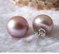 Wholesale akoya pearl studs resale online - New Genuine mm Lavender Akoya Freshwater Pearl Sterling Silver Stud Earring