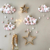 Wholesale quality kids beds for sale - Group buy New Kids Room Crib Decor Cloud Shaped Ornaments String Hairball Home Hanging Ornaments Baby Photography Props Baby Bedding Set