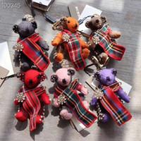 ayı çantaları toptan satış-Yüksek kaliteli kaşmir ayı bebek kolye anahtarlık klasik tasarım dekorasyon araba anahtarlık moda çanta kolye
